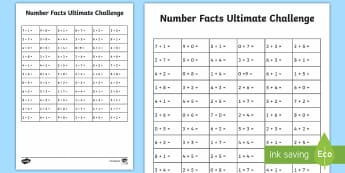 KS1 Ultimate Number Facts 5 to 9 Challenge Worksheet / Activity Sheet - KS1, numeracy, maths, addition, number bonds, bonds, number calculations, addition skills, add, tota