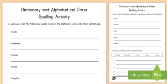 Dictionary Definitions and Alphabetical Order Activity Sheet - dictionary, definitions, alphabetical order, activity