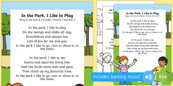 In the Park, I Like to Play Song - EYFS Parks and Gardens, playgrounds, singing, song time, swings, slide