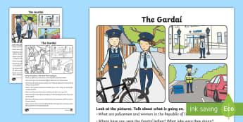 The Gardaí Oral Language Activity Sheet - ROI, Ireland, Gardaí, police, jobs, our community, oral language, activity sheet, worksheet, speaki