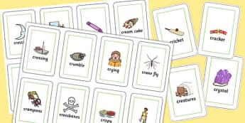 Two Syllable CR Flash Cards - two syllable, cr, flash cards, flash, cards, sound, cr sound