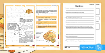 KS2 Pancake Day Differentiated Comprehension Go Respond Worksheet / Activity Sheets - shrove Tuesday, Pancake Day, Easter, Lent, pancake, tradition, celebration, festival, Christian, Chr