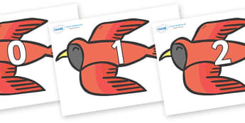 Numbers 0-31 on Red Bird to Support Teaching on Brown Bear, Brown Bear - 0-31, foundation stage numeracy, Number recognition, Number flashcards, counting, number frieze, Display numbers, number posters