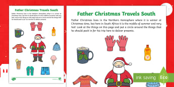 Father Christmas Travels South Activity Sheet - summer, seasons, father christmas, christmas, worksheet