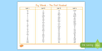 Fry Words The First Hundred Word Mat