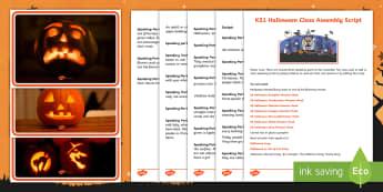 KS1 Halloween Class Assembly Script - 31st October, whole class, team work, audience, present