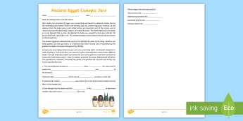 Canopic Jars Reading Comprehension Activity - canopic jars, canopic jars worksheet, ancient egypt, egyptian history, egyptian jars, history worksheet, ks2 history