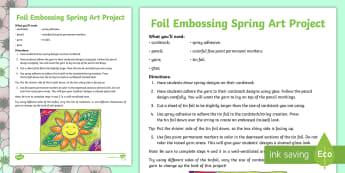 Spring Foil Embossing Art Activity - tin foil, color, Creativity, Upper Grades, Intermediate