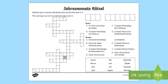 Months of the Year Crossword - Months of the Year, Crossword, German