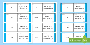 Finding More or Less 1, 10, 100 Loop Cards - Finding More or Less 1, 10, 100 Loop Cards - number, place value, 10, 1, 100, 1000, greater, smaller