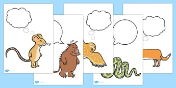 The Gruffalo Thought Bubble Posters - the gruffalo, the gruffalo thought bubbles, the gruffalo thought bubble characters, the gruffalo thoughts, feelings