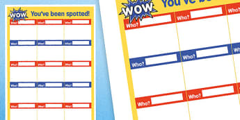 WOW Youve Been Spotted Colleague Praise Poster - award, celebration, reward, success, hard work, noticed, teachers, adults, assistants, helpers, support, good,