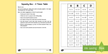 Squashy Boxes 4 Times Tables Craft - ireland, northern ireland, squashy boxes, squashy box, times tables, craft, box, activity, 4x