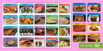 Food from around the World Cards English/Spanish -  food, around, world, cards, EAL,Spanish-translation