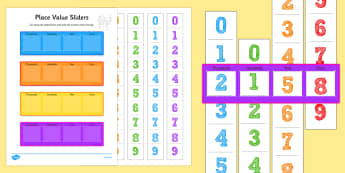 Thousands Hundreds Tens And Units Place Value Sliders - count