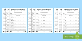 Year 3 Addition Using the Bar Model Resource Pack - Bar Modelling Addition and Subtraction Activity Sheets Year 3 - Key Stage 2, KS2, Year 3, bar models