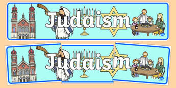 Judaism Display Banner - Religion, faith, banner, display, sign, synagogue, hannukah, jew, jewish, God, RE, rabbai, judiasm