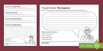 An Inspector Calls: Act 1 Thought Bubbles Activity - An inspector calls, characters, priestley, Play