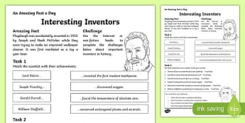 Interesting Inventors Worksheet / Activity Sheet, worksheet