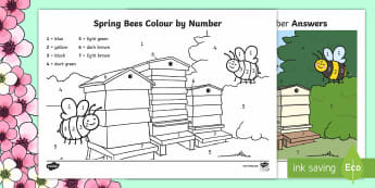 Spring Bees Colour by Number - Spring, seasons, bees, weather, colour by number