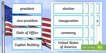 KS2 Inauguration Day Word Cards - KS1/2 Donald Trump Inauguration Day Jan 20th 2017, inauguration day, inauguration, United States of