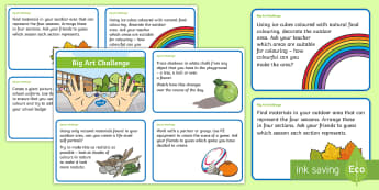 Outdoor Learning Big Art Challenge Cards - outdoor learning, art, environmental, big art, teamwork, empty classroom day