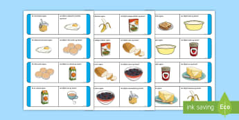 Breakfast Time Loop Cards Gaeilge - Am, Bricfeasta, Bia, Irish, Bia, Food, Breakfast, bricfeasta,Irish