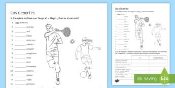 Sports Activity Sheet Spanish - Spanish, Vocabulary, sports, worksheet, activity, sheet