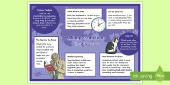 KS2 Making Predictions When Reading Display Poster - predict, infer, reading comprehension, details stated and implied, classroom environment