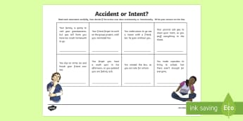 Accident or Intent? Worksheet / Activity Sheet - Social Skills, accident, intent, intentional, accidental, action, hurtful, on purpose