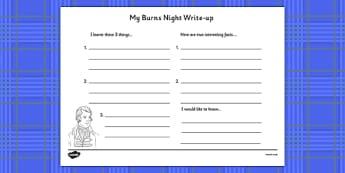 Burns Night Write Up Worksheet - burns night, write up, worksheet