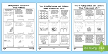 Multiplication and Division Word Problems Resource Pack - multiplication, division, word problem, problem solving, maths