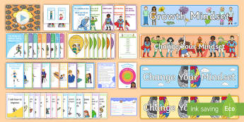 Growth Mindset Teacher Information and Displays Resource Pack - wall displays, fixed, guidance, classroom walls, display,Scottish