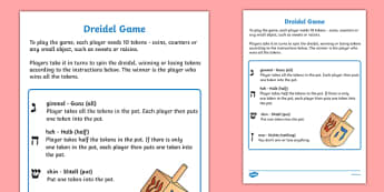 Hanukkah Dreidel Game - hanukkah, celebration, festival of lights, dreidel game, game, fun, activity, wet play, intructions on how to play the dreidel game, jewish holiday
