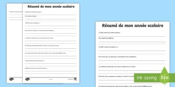 Feuille d'activités : résumé de mon année scolaire - Fin d'année, élèves, école, écriture, activité, French