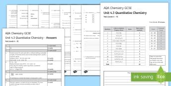 AQA Chemistry Unit 4.3 Quantitative Chemistry Test - KS4 Assessment, Test, chemistry, gcse, mole, moles, calculations, equation, formula, gas volume, emp
