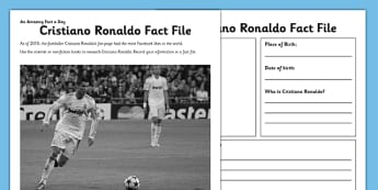 Cristiano Ronaldo Fact File - football, footballer, sports, research, biography, writing frame, writing, activity