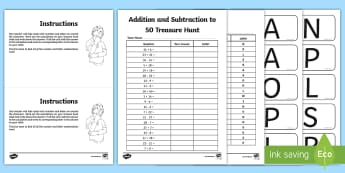 Addition and Subtraction to 50 Treasure Hunt Activity - hunt, +, substraction,50, fifty, addition to 50, subtraction to 50, adition, suntraction, subraction