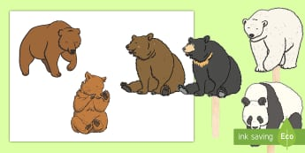 Bears Stick Puppets - Animals, Polar Bear, Panda, Black Bear, Brown Bear, Baby Bears, Bear Cubs, Small World, role play, s