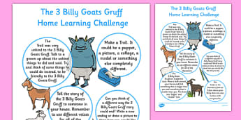 The Three Billy Goats Gruff Home Learning Challenge Sheet Reception FS2 - EYFS planning, early years planning, homework, traditional tales
