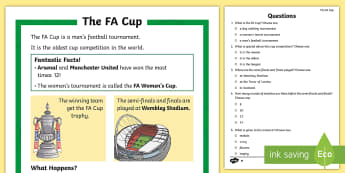 KS1 FA Cup Differentiated Comprehension Go Respond  Activity Sheets - Interactive, Football, Sport Competition, P.E., Facts, Information, Non-fiction, Boys Interests