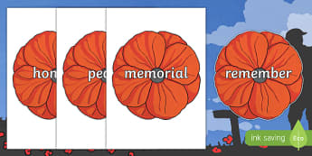 Remembrance Day Topic Words on Poppies