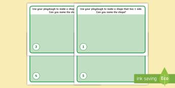 2D Shape Counting Sides Playdough Mats - sides, properties of shape, shape Descriptions, malleable, messy, dough, play dough