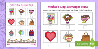 Mother's Day Scavenger Hunt - search, find, cards, flowers, mum, mummy