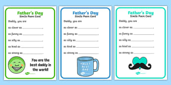 Father's Day Simile Poem Card - fathers day, simile, poem, card