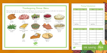 Thanksgiving Dinner Menu Calculations Activity - Money, Addition, Subtraction, Multiplication, problem solving, math center, math station, operations