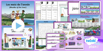 French: Time: Months Year 3 Lesson Pack 3