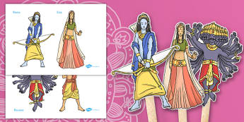 Diwali Story Puppets - diwali, story, puppets, stick puppets, diwali story for early years