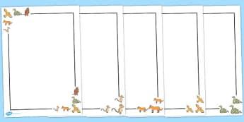 The Gruffalo Page Borders - The Gruffalo, resources, mouse, fox, owl, snake, Gruffalo, fantasy, rhyme, story, story book, story book resources, story sequencing, story resources, Literacy, writing, page border, a4 border, template, writing aid, writi