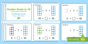 Number Shapes Number Bonds to 10 Activity Challenge Cards English/Polish - Requests KS1, maths, number bonds, 20, twenty, adding, numicon, calculations, ,Polish-translation